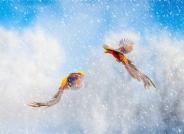 雪花纷飞,红鸡飞舞